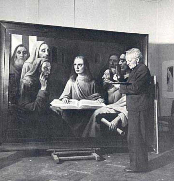Хан Ван Меегерен пишет картину «Молодой Христос, проповедующий в храме»