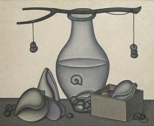 Dmitry Krasnopevtsev glass jar with water and sinks . Scales