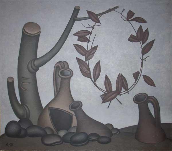 Dmitry Krasnopevtsev Still life with jugs and an iron wreath