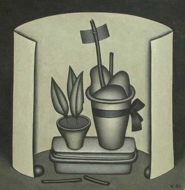 Dmitry Krasnopevtsev Still life with flower pots, tied with black ribbon