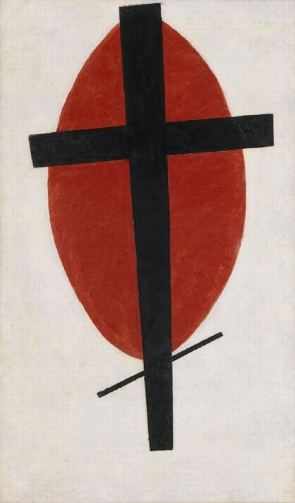 Kasimir Malevich Suprematism Mysterious (black cross on a red oval). 1920-1922