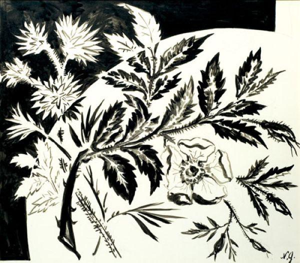 Декоративный рисунок с шиповником