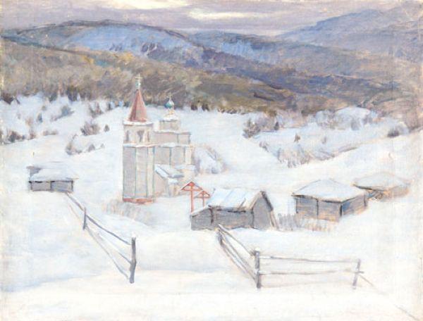 Бируля зимний пейзаж с церковью 1944