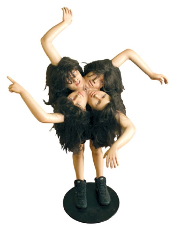 A manipulated photo of a woman with 4 heads and 4 arms on a white background.