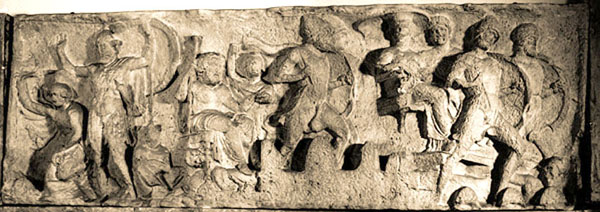 Sculptural relief of Tris. Fragment. Warriors, defending the besieged city wall. Approx. he was 390-380. BC. e.