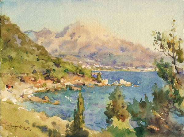 SERGEI ALDUSHKIN Evening on the Adriatic coast. 2007. Paper, Watercolor. 21 x 28