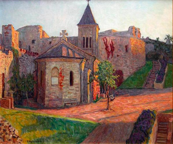 NIKOLAY BOGDANOV-BELSKY View of the Church. 1930. Oil on canvas. 66 x 78