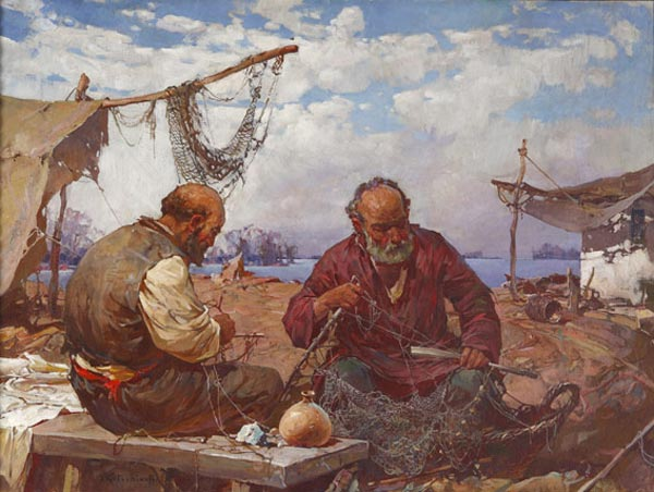 STEPAN KOLESNIKOV Fishers. Oil on canvas. 89 x 116