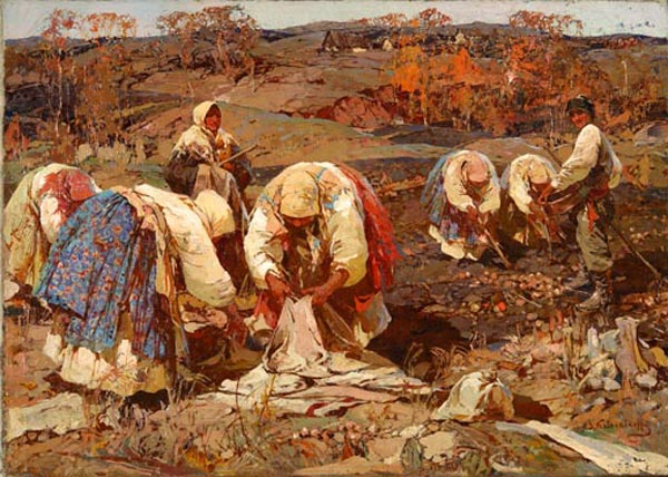 STEPAN KOLESNIKOV Collect potatoes. Oil on canvas. 72 x 100