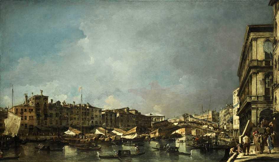 ФРАНЧЕСКО ГВАРДИ Венеция. Вид моста Риальто с Угольной набережной.