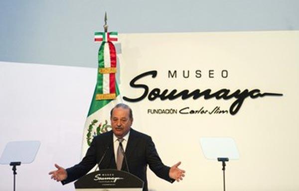 Слим выступает на пресс-показе нового музея «Сумайя» в Мехико