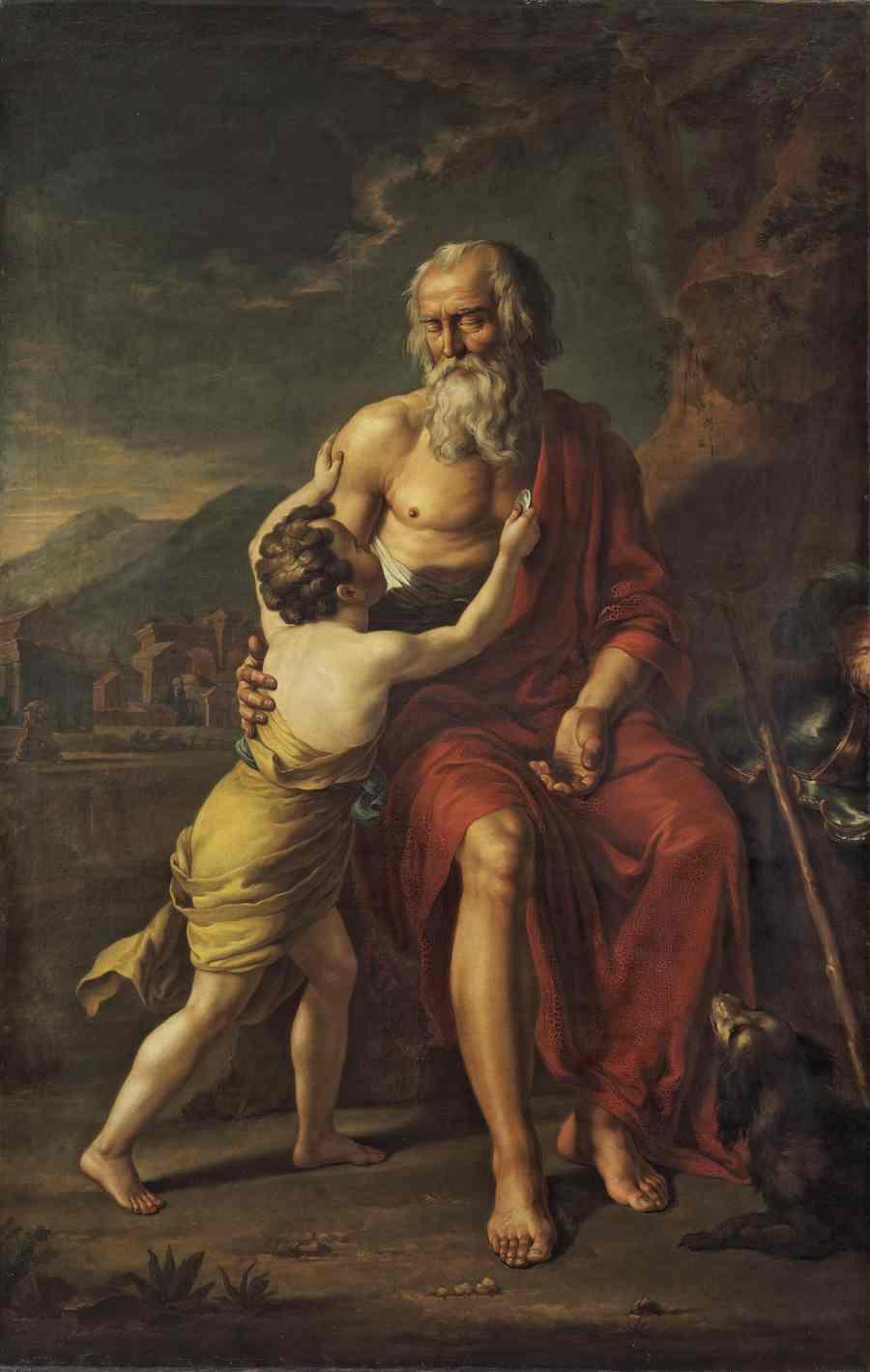ТУПЫЛЕВ И. Ф. Велизарий, сидящий при дороге в положении просящего милостыню, и с ним мальчик. 1785