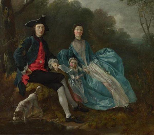 ТОМАС ГЕЙНСБОРО Портрет художника с женой и дочерью (фрагмент)