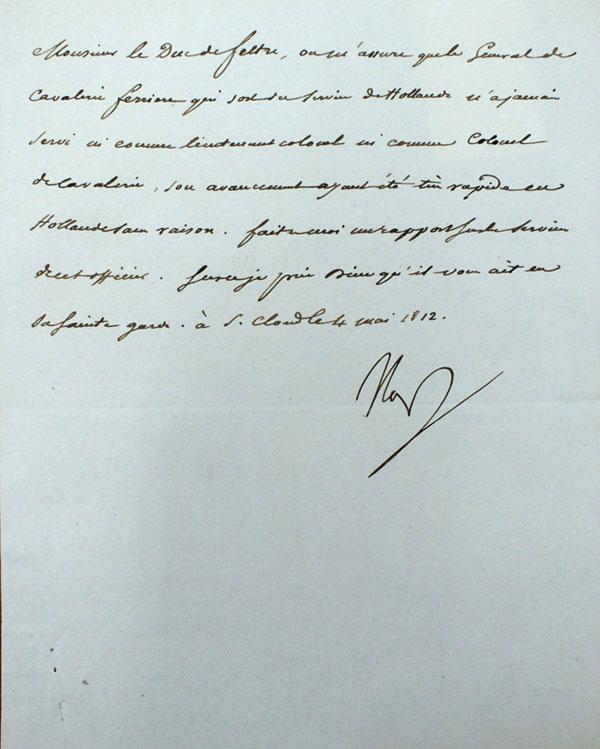 Лот №248. Письмо Императора Наполеона I на французском языке, адресованное Анри-Жаку-Гильому Кларку, герцогу Фельтре— военному министру Наполеона [Автограф]