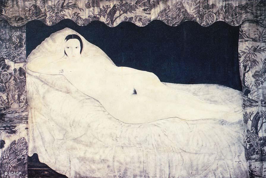 Reclining Nude with Toile de Jouy by Leonard Tsuguru. Image via art investment.ru