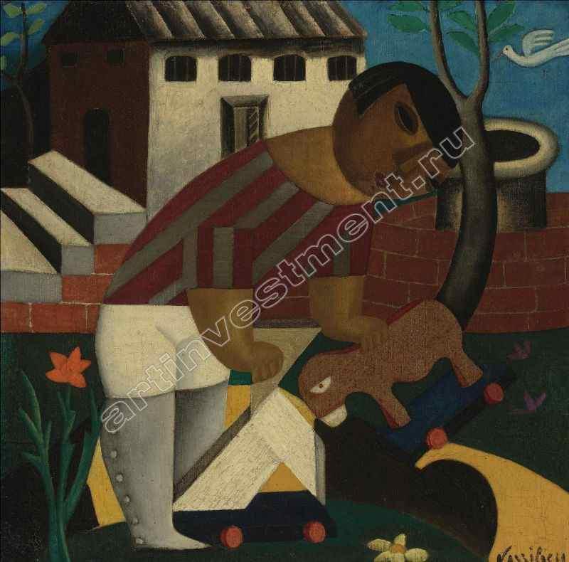 ВАСИЛЬЕВА МАРИЯ ВАСИЛЬЕВНА (1884–1957) Ребенок с игрушкой. Ок. 1920