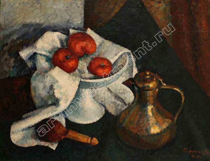 СОФРОНОВА АНТОНИНА ПЕТРОВНА (1892–1966) Натюрморт с медным кувшином. 1916