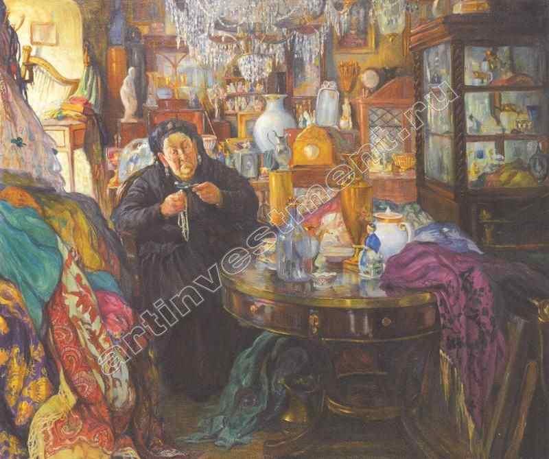 ДЕЛЛА-ВОС-КАРДОВСКАЯ ОЛЬГА ЛЮДВИГОВНА (1875–1952) Антикварная лавка. 1916
