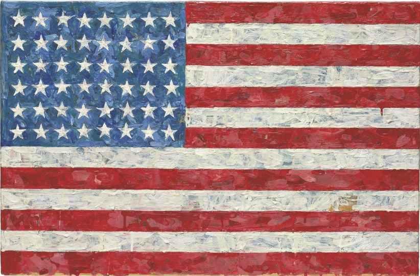 JASPER JOHNS Flag 1960 1966 The Canvas Encaustic Collage 679 445 X 11 12052010 Lot 7 Evaluation Of Auction Estimate 10 000 15