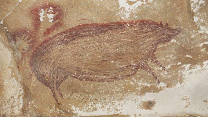 Древнейший наскальный рисунок нашли в Индонезии