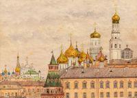Artist: Tarkhanov, Mikhail Mikhailovich : Ivan the Great Belltower and Uspensky Cathedral from Rumyantsev Museum