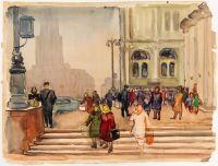 Artist: Deineko, Olga Konstantinovna : Pedestrians on the Streets of Moscow