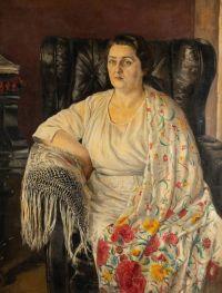 Artist: Benois, Nikolay Alexandrovich : Porträt von Nadezhda Andreevna Obukhova
