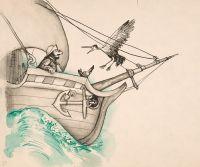 Художник: Калиновский, Геннадий Владимирович : Попросите доктора чтобы он плыл скорее. Оригинал иллюстрации к сказке «Доктор Айболит» К. Чуковского
