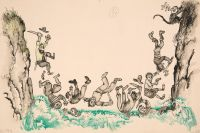 Художник: Калиновский, Геннадий Владимирович : Обезьяний мост. Оригинал иллюстрации к сказке «Доктор Айболит» К. Чуковского