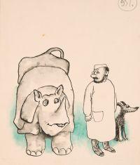 Художник: Калиновский, Геннадий Владимирович : Носороги только засмеялись в ответ. Оригинал иллюстрации к сказке «Доктор Айболит» К. Чуковского