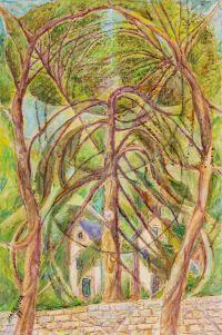 Художник: Маревна : Пейзаж с ветвистыми деревьями