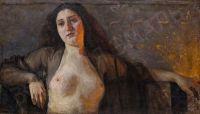Artist: Bershadskiy, Yuliy Rafailovich : Натурщица с обнаженной грудью