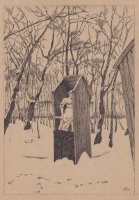 Художник: Добужинский, Мстислав Валерианович : Летний сад зимой. Лист из папки «Петербург в двадцать первом году»