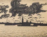 Artist: Dobuzhinsky, Mstislav Valerianovich : Петропавловская крепость. Из альбома Петербург в двадцать первом году