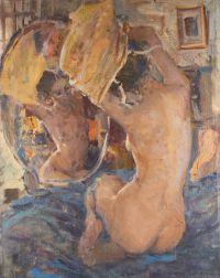Artist: Balykov, Yury Evdokimovich : Frauenakt vor dem Spiegel