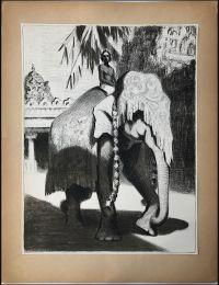 Художник: Ватагин, Василий Алексеевич : Слон в уборе; из папки «Индия»