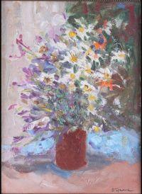 Artist: Gremitskikh, Vladimir Georgievich : Цветы в коричневой вазе