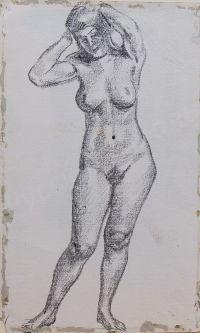 Artist: Tyrsa, Nikolay Andreevich : Стоящая обнаженная, держащая руки за головой