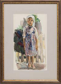 Artist: Kotelnikova, Galina Grigorievna : Девочка у ограды