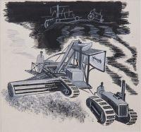 """Artist: Grabbe, Robert Andreevich : Машины работают 18 часов в сутки. Эскиз иллюстрации для журнала """"Рост"""""""