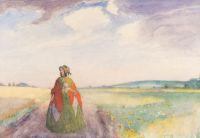 Artist: Nilus, Petr Alexandrovich : Junge Dame auf einem Feldweg