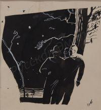 """Artist: Karachentsov, Petr Yakovlevich : В лесу уже нельзя было отличить сосну от елки. Иллюстрация к рассказу П. Клязминского """"Прогулка"""""""
