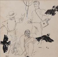 """Artist: Karachentsov, Petr Yakovlevich : При их приближении весело взлетела стая галок. Иллюстрация к рассказу П. Клязьминского """"Прогулка"""""""