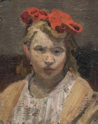 Artist: Basov, Beniamin Matveevich : Портрет девочки с красным бантом