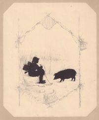 Художник: Бём, Елизавета Меркурьевна : Свинья. Лист из издания «Силуэты к басням Крылова»