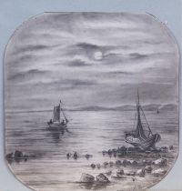 Artist: Kulkov, Mitrofan Platonovich : Лодки при луне