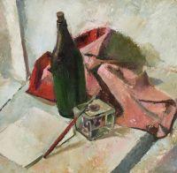 Artist: Bezzubov, Yury Ivanovich : Натюрморт с бутылкой и кистью