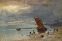 Artist: Borzov, Alexandr Nikolaevich : Вид морского побережья с рыбацкими лодками
