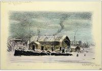 Artist: Kaplun, Adrian Vladimirovich : Деревенский пейзаж зимой