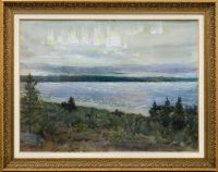 Artist: Belyaev, Nikolay Yakovlevich : Полярное сияние. Озеро Имандра